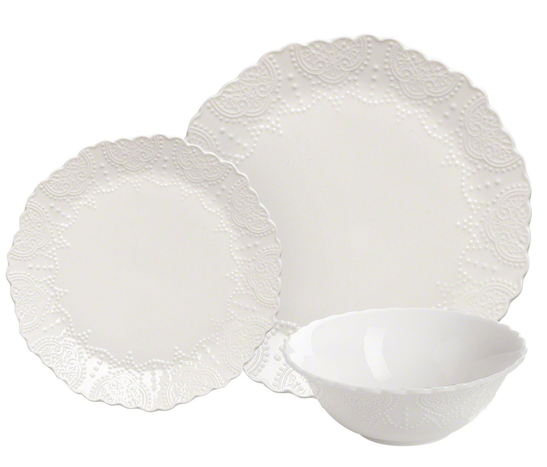 Amazon.com | Dinnerware Set Service for 2, Scalloped Embossed Bone ...
