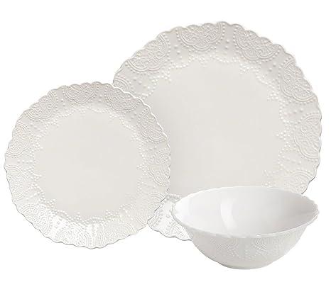 Dinnerware Set Service for 2 Scalloped Embossed Bone China 6 Piece White Porcelain  sc 1 st  Amazon.com & Amazon.com | Dinnerware Set Service for 2 Scalloped Embossed Bone ...