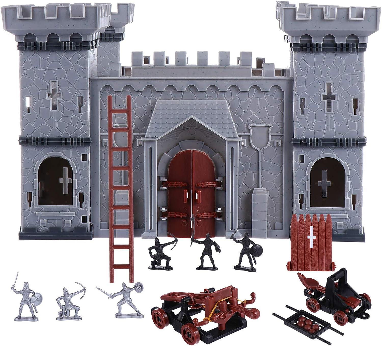 NUOBESTY Castle Building the Medieval Times - Juego de juguetes de caballería de castillo de la Edad Media con figuras de soldado y caballero