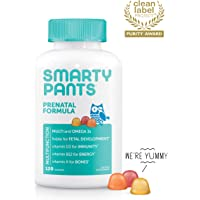 SmartyPants Prenatal Daily Gummy Multivitamin: Biotin, Vitamin C, D3, E, B12, A, Omega 3 (DHA/EPA) Fish Oil, Gluten Free, Zinc, Selenium, Methyl Folate, 120 Count (30 Day Supply) - Packaging May Vary