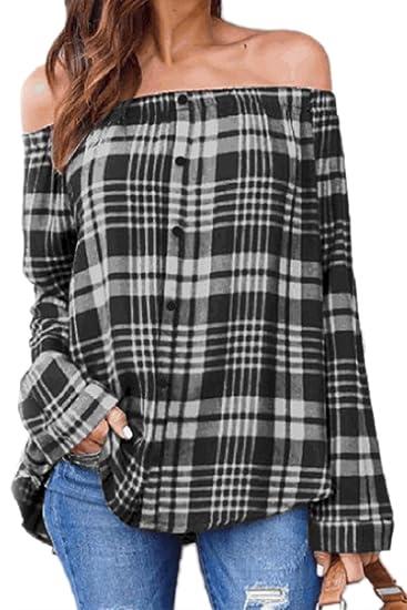 Las Mujeres Sin Tirantes De Blusa Top Off Shoulder Tunic Tops De Las Camisas De Cuadros: Amazon.es: Ropa y accesorios