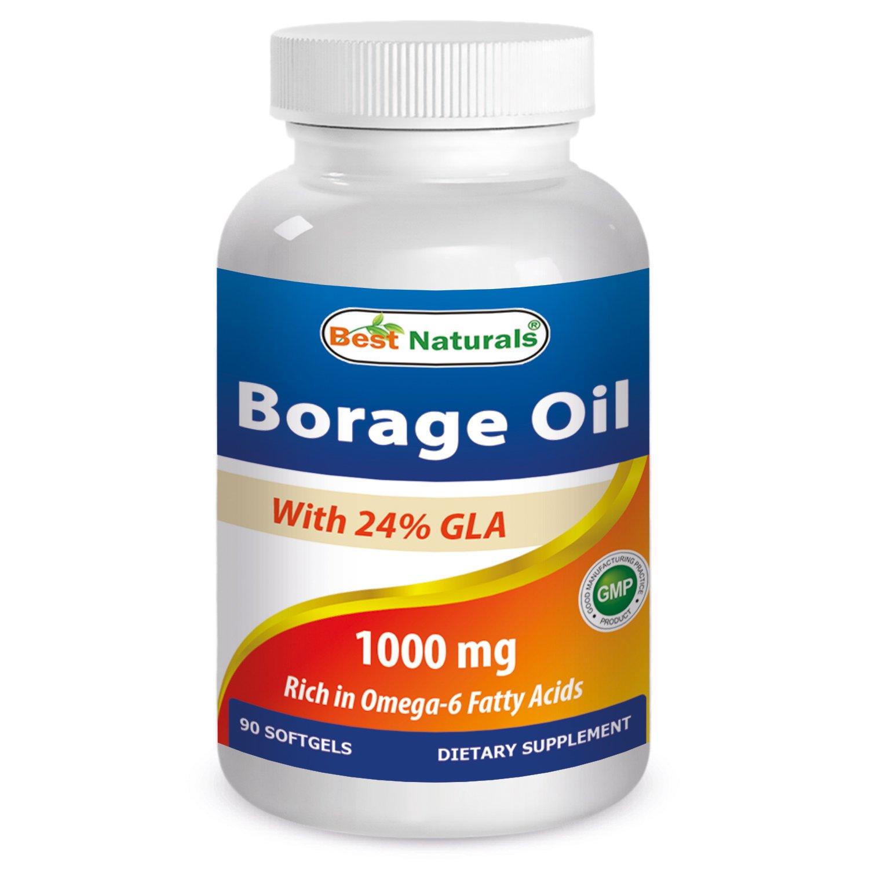 Best Naturals Borage Oil 1000 mg 90 Softgels - 24% GLA promotes healthy skin, metabolic & cellular health*