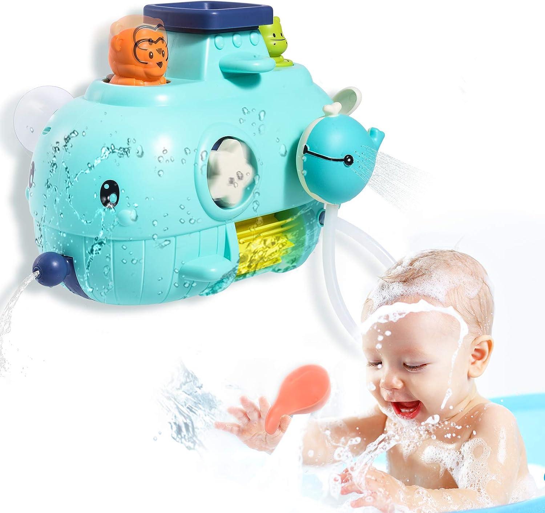 Joyjoz Juguetes de Baño para Bebés, 5 en 1 Juguete de Ballena para Pared de Baño, Juguetes de Bañera con Cascada, Regalo de Ducha para Niños Pequeños, Niños de 1, 2, 3, 4 Años de Edad