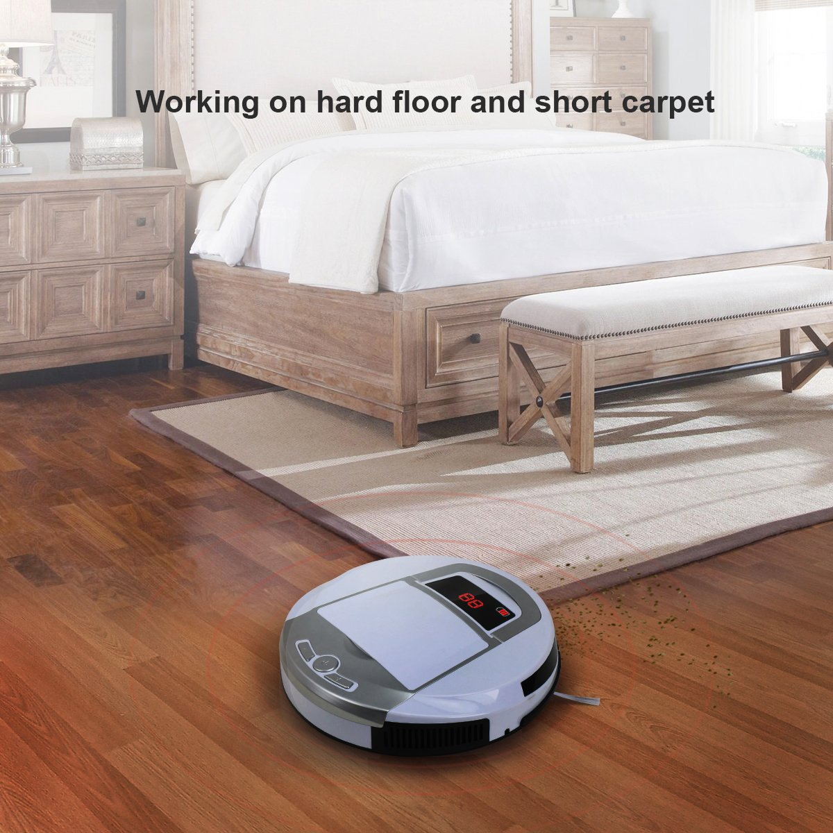 Robotic Vacuum Cleaner, Rechargeable Robotic Vacuum with Strong Suction and HEPA Double Filter, Anti-Cliff and Anti-Bump Sensor Robot for Pet Hair, Fur, Allergens, Thin Carpet, Hardwood and Tile Floor by FORTUNE DRAGON (Image #2)