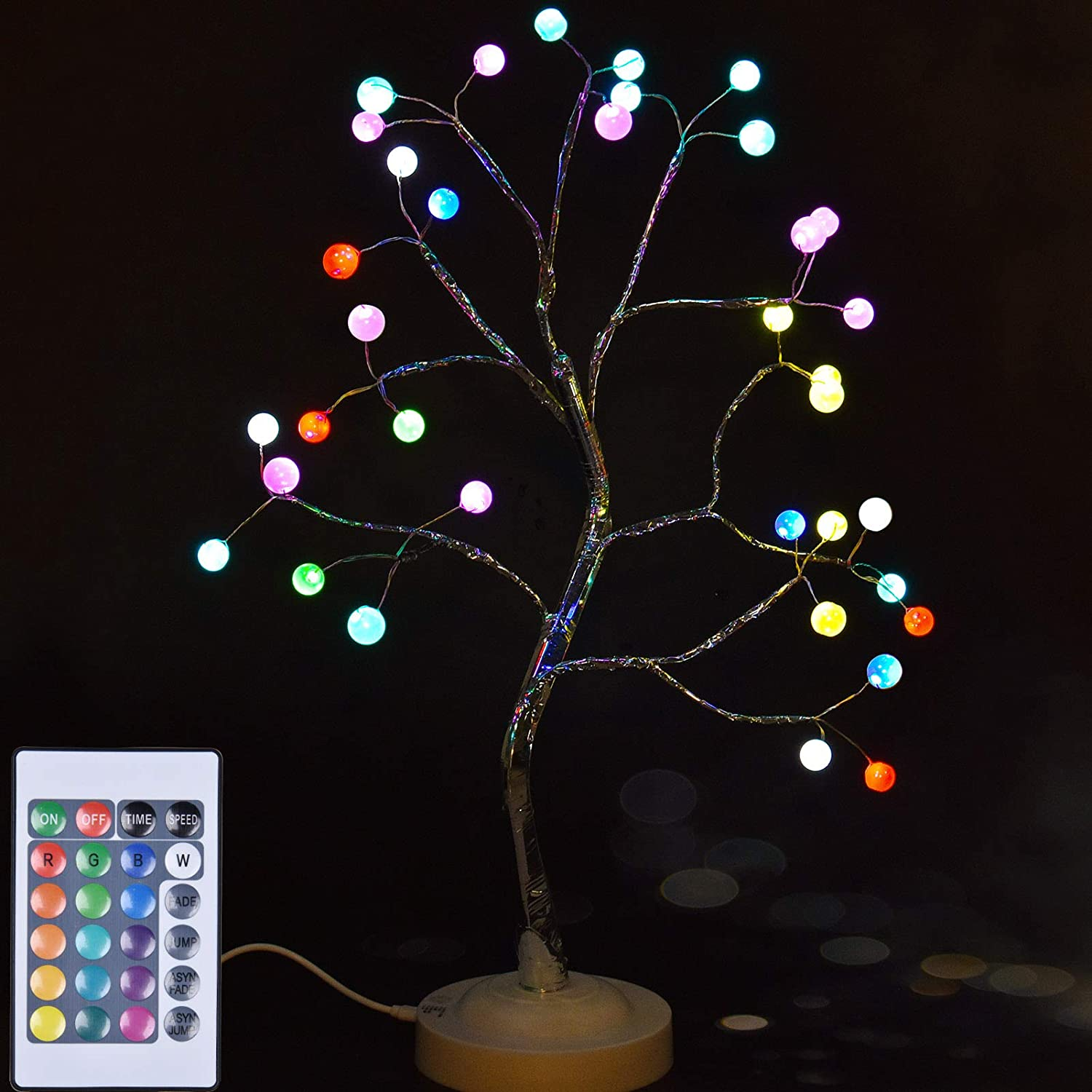 Tree Lamp Bonsai Tree Lights, Artificial Tabletop Tree Lights, 108-LED for Home Decor, Parties, Weddings, Holidays, and Gifts (Multicolor, with RC)