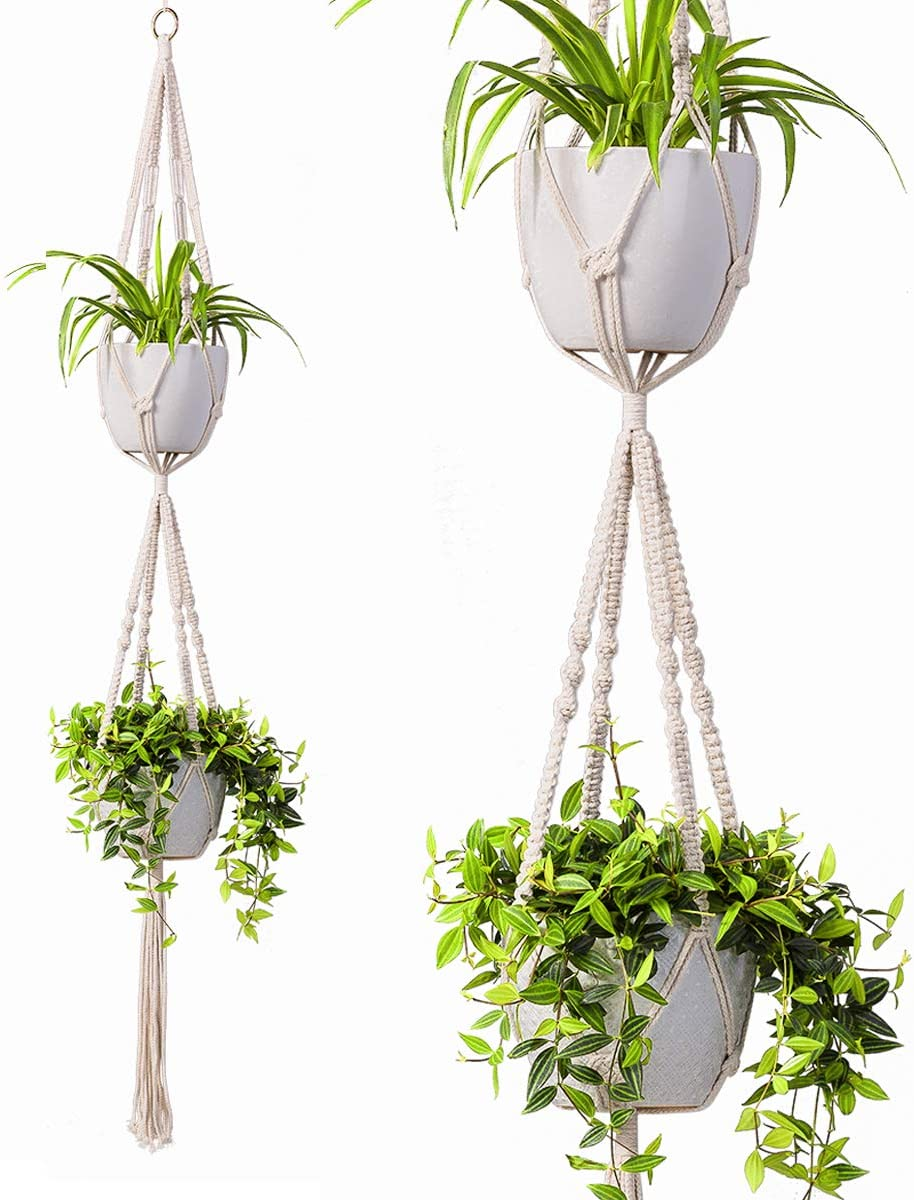 TIMEYARD 2 Tier Macrame Plant Hanger Handmade Double Indoor Hanging Planter Pot Holder - Modern Boho Home Decor - 1 PCS Ceiling Hook