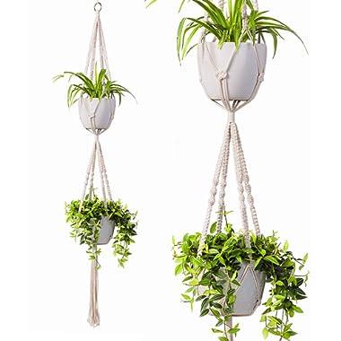 2 Tier Macrame Plant Hanger by TimeYard - Handmade Double Indoor Hanging Planter Pot Holder - Modern Boho Home Decor - 1 PCS Ceiling Hook
