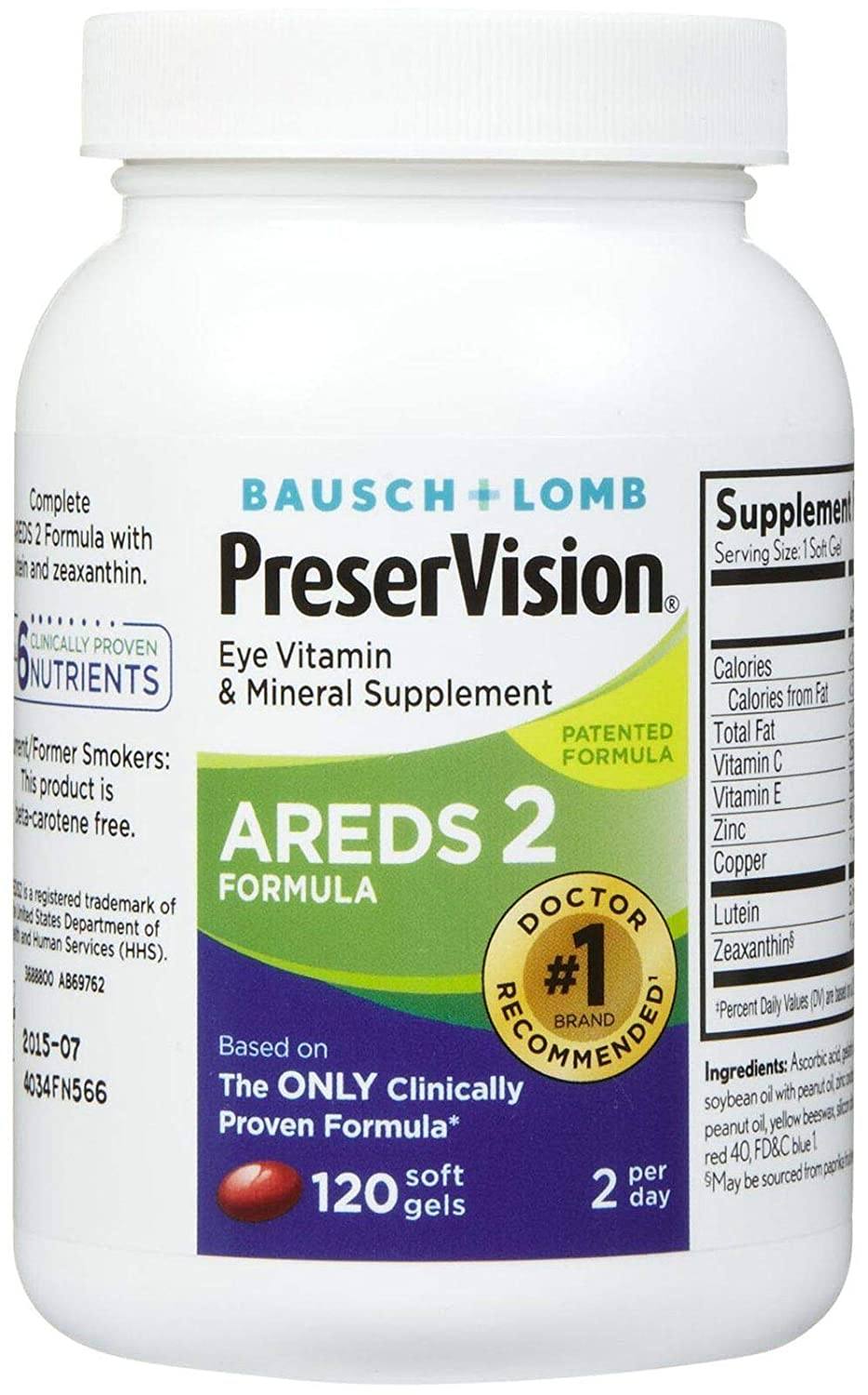 PreserVision AREDS 2 Vitamin Mineral Supplement, Soft Gels 120 ea