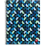 """Miquelrius Spiral Hardcover Notebook, 4 Subject, 140 sheets/280 Lined pages, 8.5 x 11"""", Origami (Dark Blue)"""