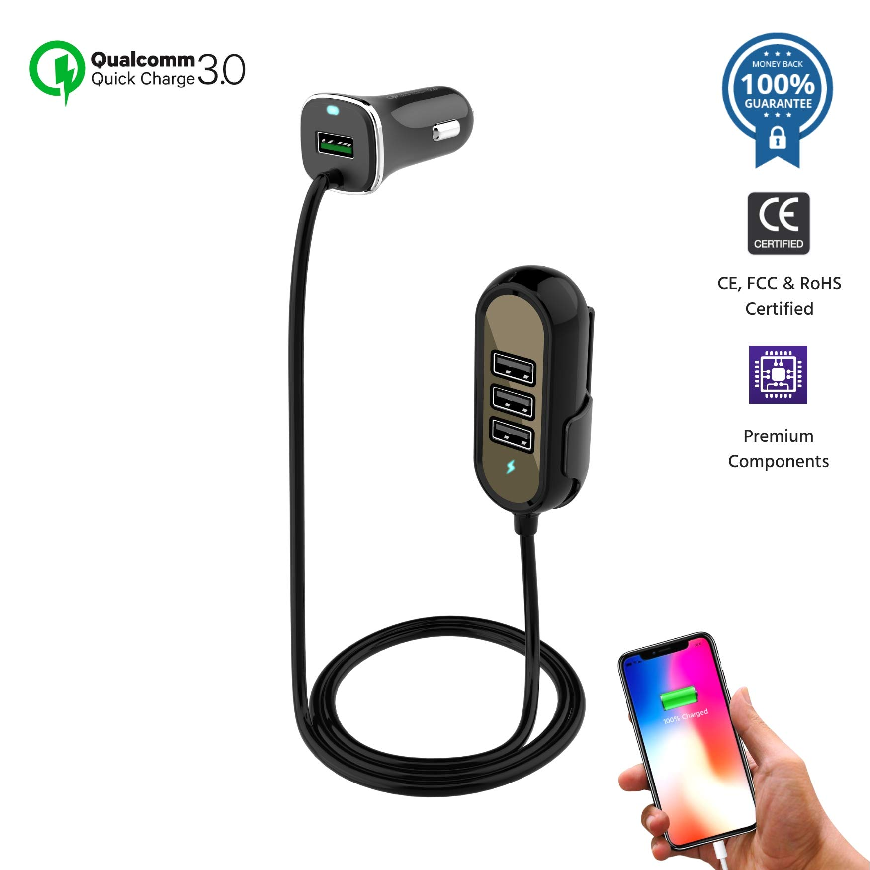 Multi-Port QC3.0 USB Car Charger Adapter Compatible for iPhone X/8/7/Plus, iPad Pro/Air/Mini, Samsung Galaxy S9/8/7/Note, LG, Motorola and More | Cigarette Lighter Charge