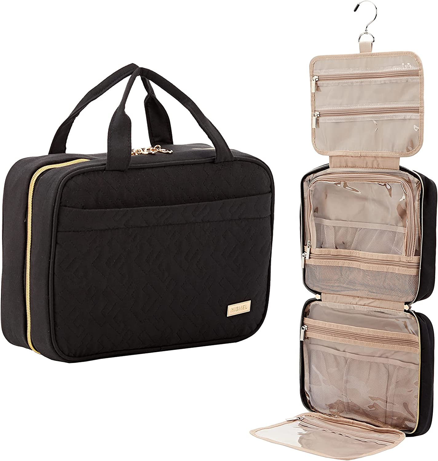 NISHEL Large Hanging Travel Toiletry Bag, Portable Makeup Organizer, Water Resistant Cosmetic Holder for Brushes Set, Full-Sized Shampoo, Conditioner, Accessories, Black