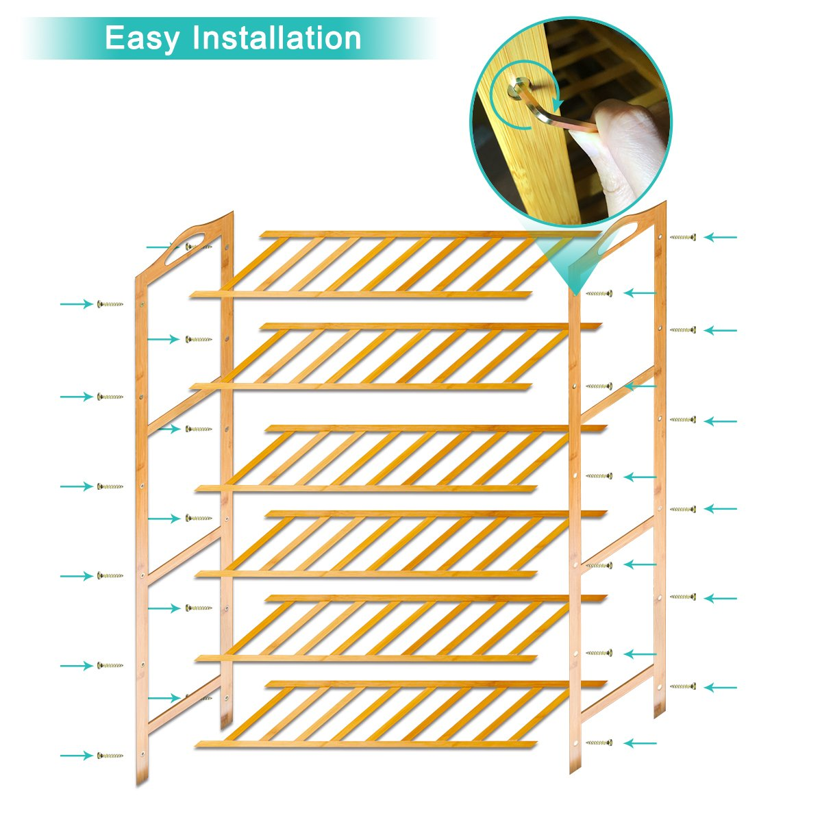 ANKO Bamboo Shoe Rack, 100% Natural Bamboo Thickened 6-Tier Mesh Utility Entryway Shoe Shelf Storage Organizer Suitable for Entryway, Closet, Living Room, Bedroom. (1 PACK) by ANKO (Image #6)