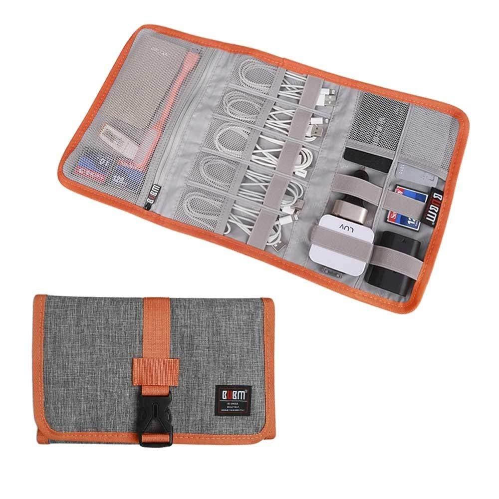 BUBM Travel Organizer Cable Bag USB Drive Shuttle Electronics Accessory Organizer Roll Gray