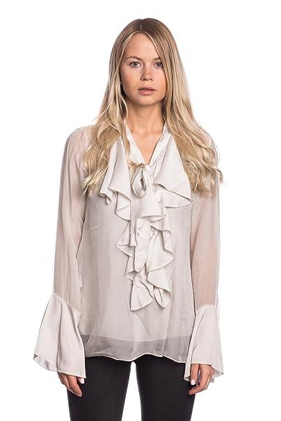 Abbino 8622 Blusa Top para Mujer - Hecho en ITALIA - 6 Colores - Entretiempo Primavera