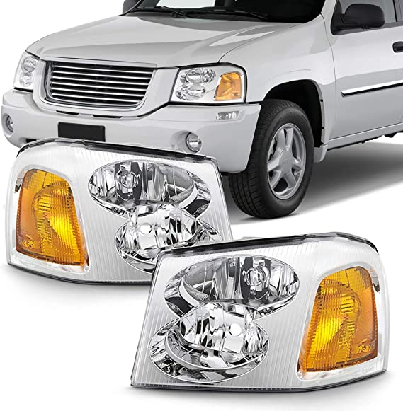 ACANII - For 2002-2009 GMC Envoy SUV OE Style Chrome Headlights Headlamps Assembly Replacement Driver & Passenger Side