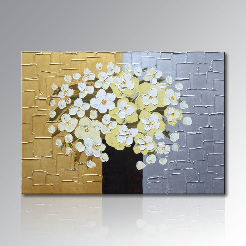 Seekland Art Hand painted Oil Painting Abstract Artwork Contemporary White and Yellow Floral wall Art Decor Picture on Canvas Stretched and Ready to Hang Artwork for Living Room (48''W x 36''H)