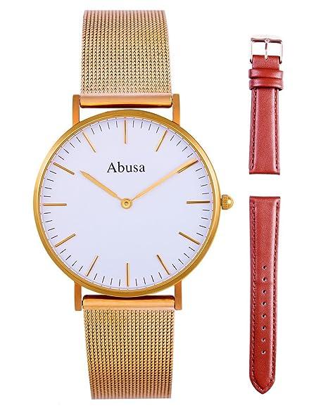 ABUSA Reloj de Hombre y Mujer Classic lujo Business Casual Relojes Analógico de Cuarzo con malla banda de Acero Inoxidable y Cuero: Amazon.es: Relojes