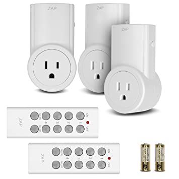 Etekcity Wireless Remote Control Electrical Outlet Switch for Household Appliances, White (Learning Code, 3Rx-2Tx)