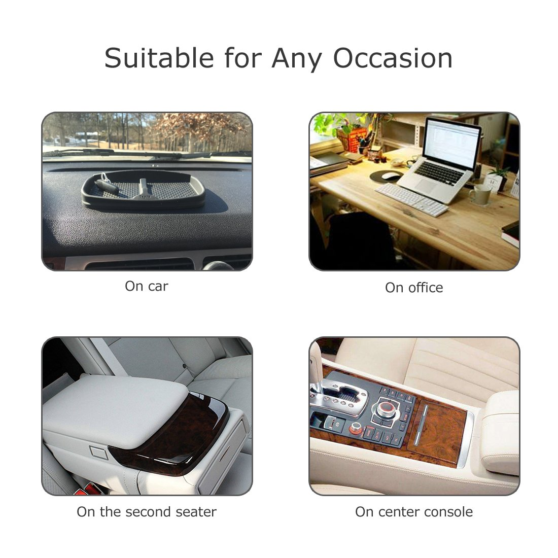 Anti-Slip Cell Phone Pad Universal for Car Dashboard Non-Slide Silicone Rubber Gel Mat Cell Phone Holder for Smartphone X//8//7 Plus Galaxy Note 8 S9 S8 Plus or GPS Devices Sunglasses Cards Coins