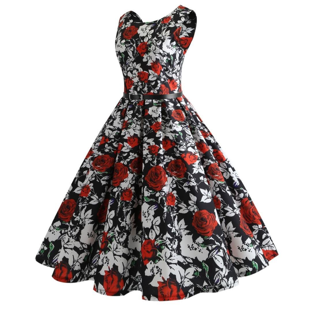 Women Evening Party Dress,Rakkiss Vintage Printing Bodycon Prom Swing Sleeveless Casual Dress: Amazon.com: Grocery & Gourmet Food