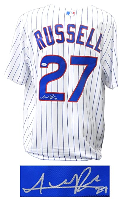 save off 57061 c1e31 Signed Addison Russell Jersey - White Pinstripe 2016 World ...