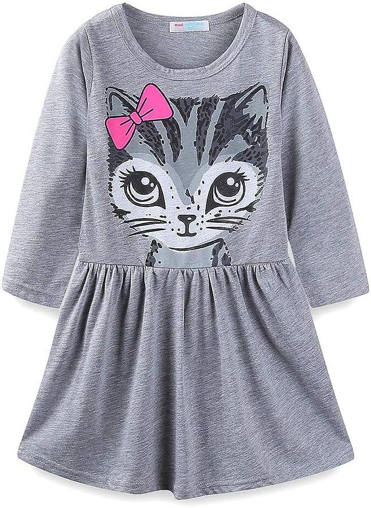 GN Kids Girls Summer Short Sleeve Cute Cat Bowknot Dress O-Neck Dress Natural
