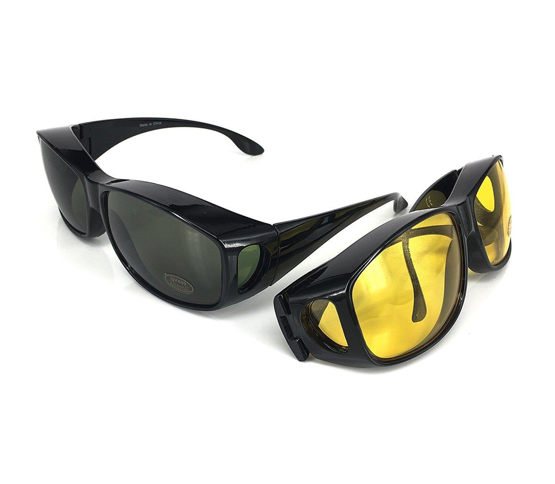 Gafas de sol superpuestas | Más gafas de sol - Más de gafas de sol - gafas de conducción y gafas de visión nocturna | Conjunto de 2 piezas | Para conducir DÍA y NOCHE | Protección anti UV400 ACHATPRATIQUE