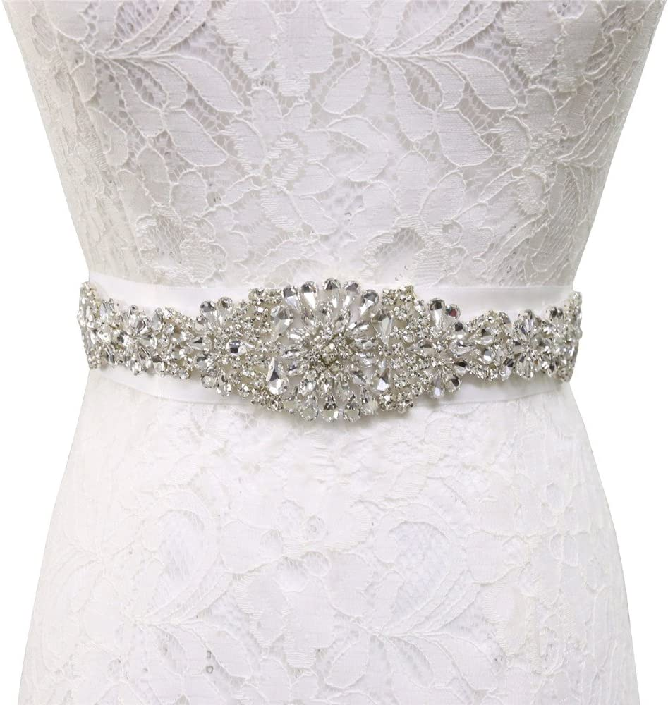 Wedding Gems and Jewels Wedding Rhinestones Pearl Bridal Belt-Ivory