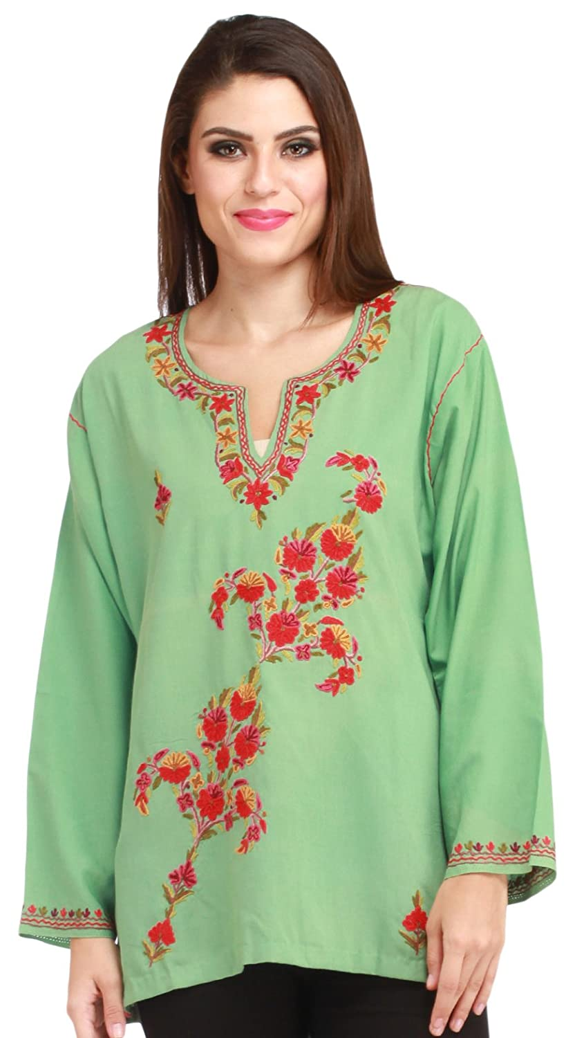 Exotic India Fair-Green Kashmiri Kurti with Ari Embroidered Flowers by Hand