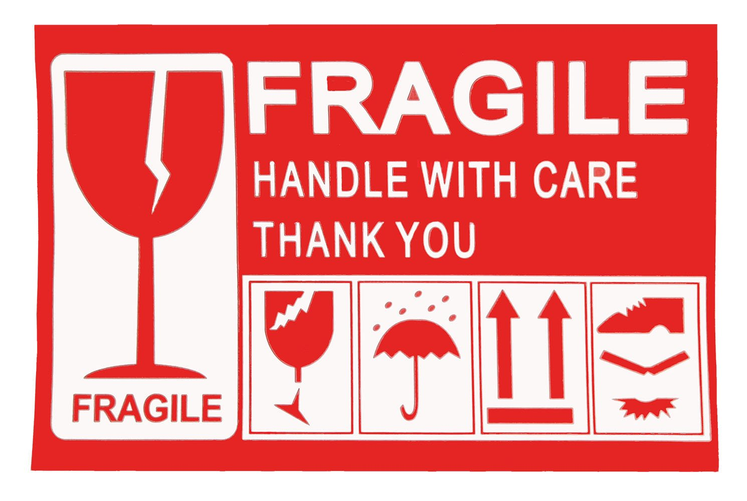 Remarkabel 5x 3 Red Permanent Adhesive Fragile - Handle with Care - Thank You Warning Shipping Label Stickers