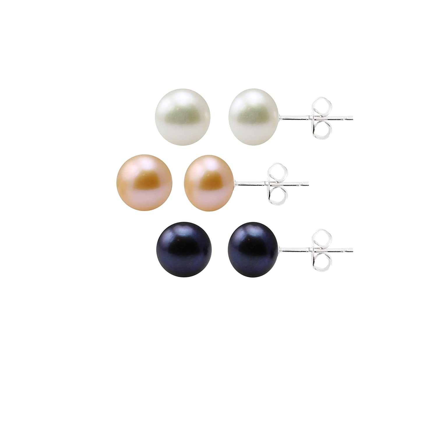 b03aa3cd2 Amazon.com: Sterling Silver Freshwater Cultured Pearl Stud Earrings 3-Piece  Set in White, Dyed Peacock Black and Dyed Blush Rose (8-8.5mm): Jewelry