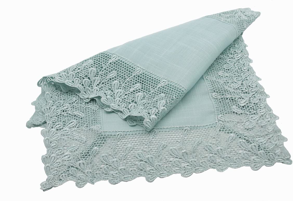 Manor Luxe Garden Trellece Lace Trim Table Runner, 16 by 36-Inch, Reflecting Pond Blue, 16 x 36