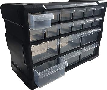 Caja para piezas pequeñas con 18 compartimentos, cajones, caja de ...