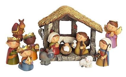 Weihnachtskrippe Für Kinder.12 Tlg Set Kinder Krippenfiguren Mit Stall Handbemalt Figurenhöhe Zwischen 2 4 8 Cm Für Die Weihnachtskrippe