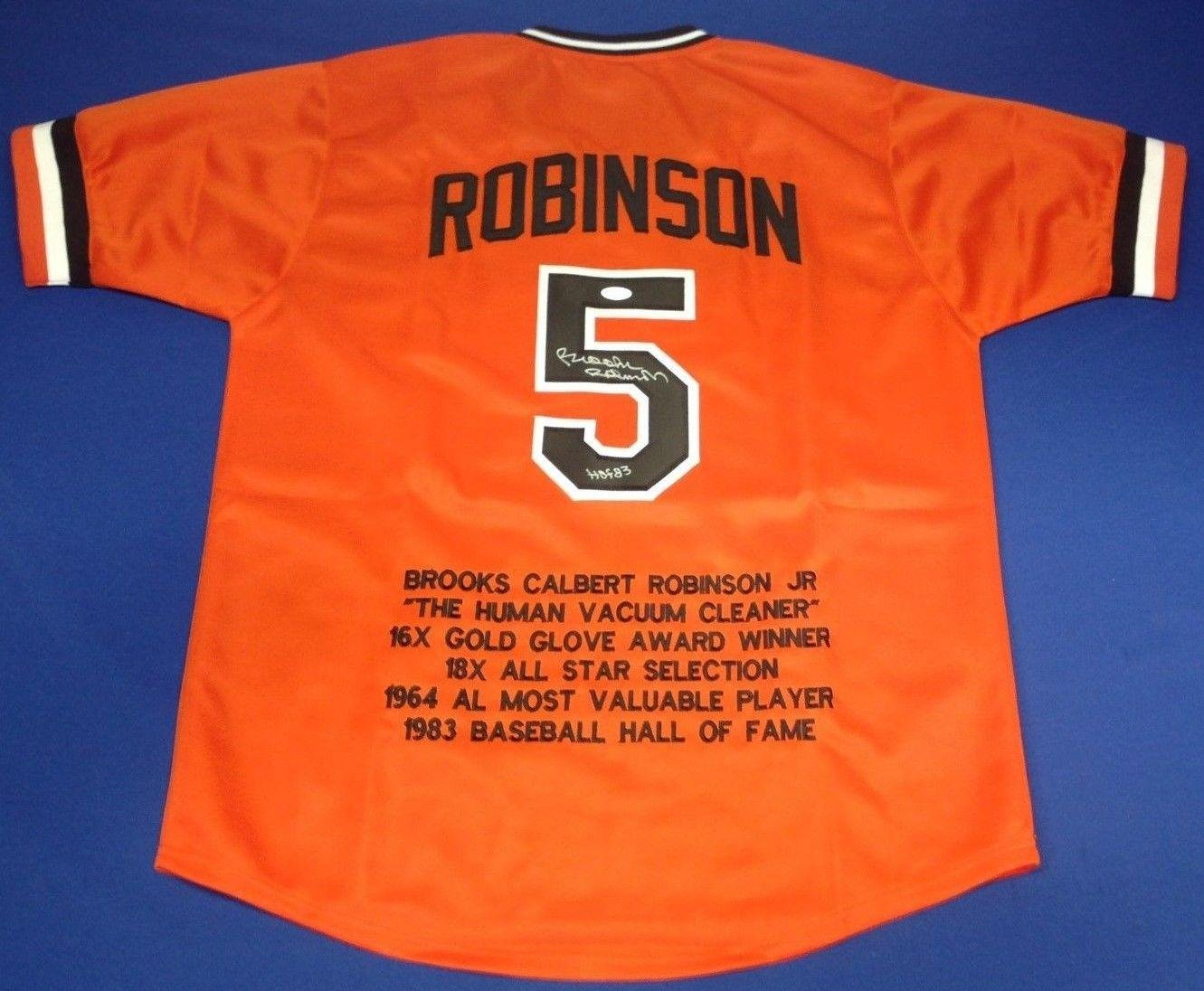 a4ed970a900 Brooks Robinson Signed Baltimore Orioles Baseball Stat Jersey