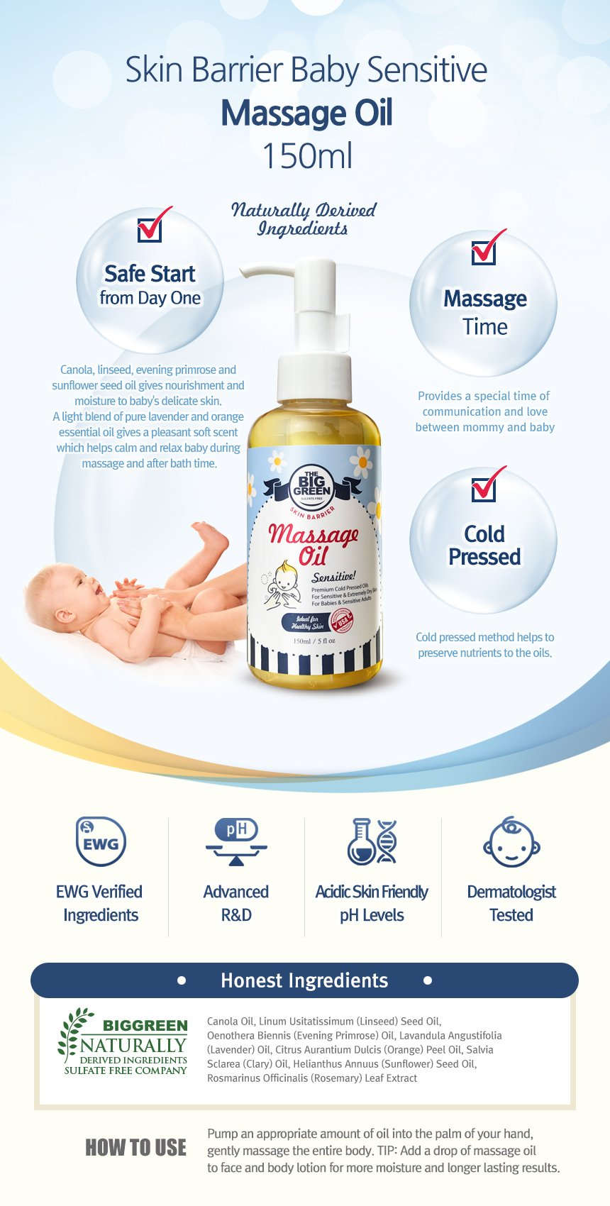 Big Green Sensitive Baby Massage Oil 4.5 fl oz-All Natural-Plant Based Ingredients-Cold Pressed-Non Toxic-No Mineral Oil-All Skin Types-Lavender Essential Oil by BIGGREEN (Image #3)