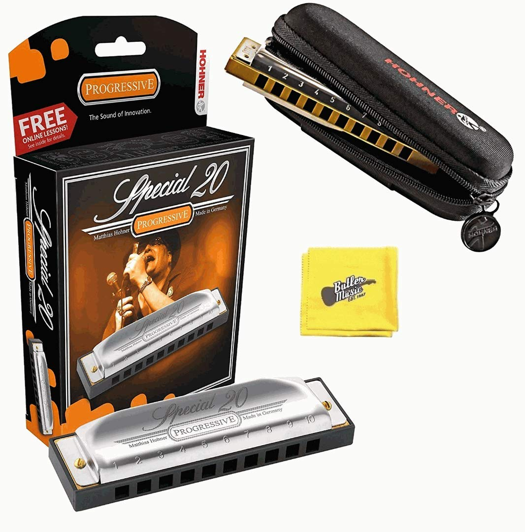 Hohner 560 Special 20 Harmonica - Key of A Bundle with Carrying Case and Austin Bazaar Polishing Cloth by Hohner Accordions