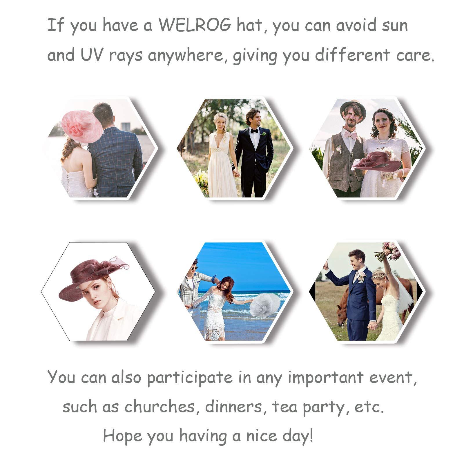 WELROG Women's Derby Church Dress Hat - Wide Brim Floppy Floral Ribbon UPF Protection Wedding Sun Hats(Navy Blue) by WELROG (Image #7)