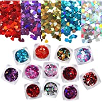 12 Boxes Heart Glitter Nail Sequins, Tingbeauty Holographic Nail Art Flakes Colorful Confetti Glitter for DIY Design…