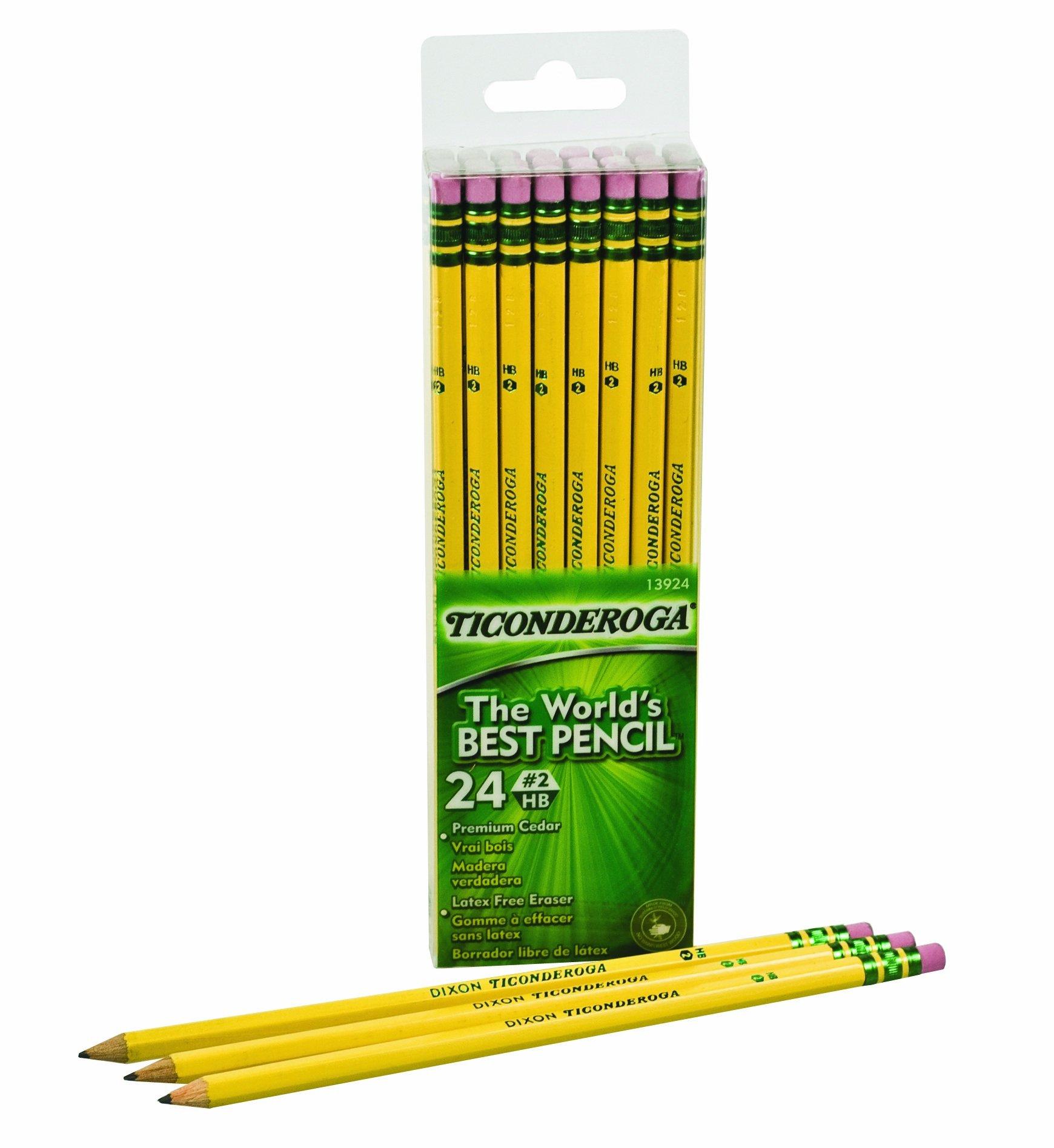 Dixon Ticonderoga Wood-Cased #2 HB Pencils, Six 24-Count Hang-Tab Boxes, Total 144 Pencils, Yellow (13924) (13924N) by Dixon (Image #3)