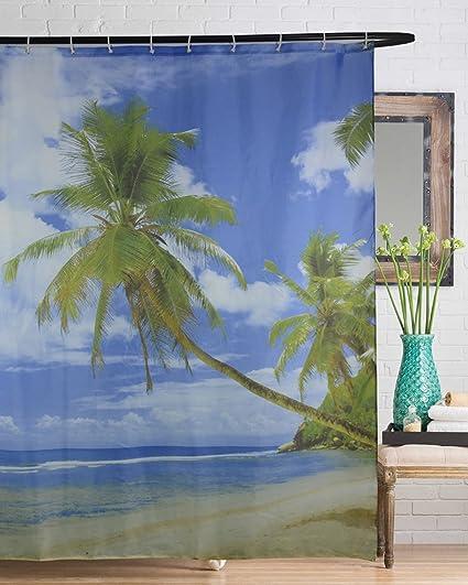 Beach Shower Curtain, Tropical Palm Trees On An Lsland Sandy Ocean Decor  Fabric Shower Curtains