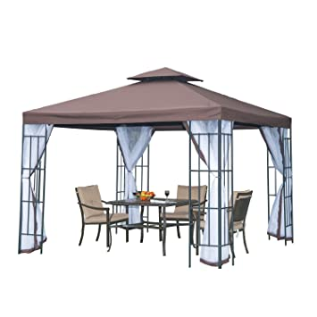 Outsunny 3m x 3m Gazebo Marquee Metal Party Tent Canopy Pavillion ...
