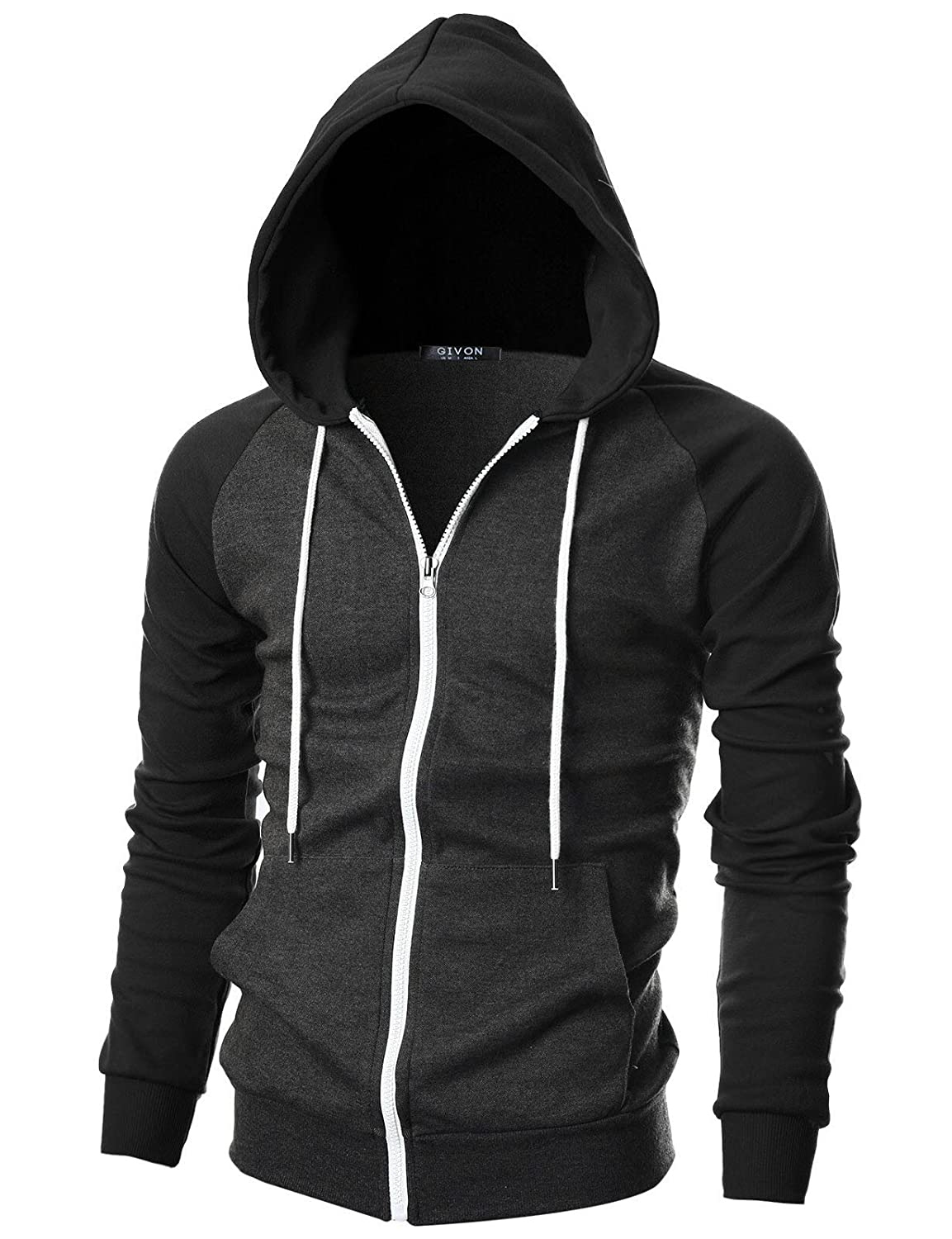 GIVON Mens Slim Fit Long Sleeve Lightweight Raglan Zip-up Hoodie with Kanga Pocket