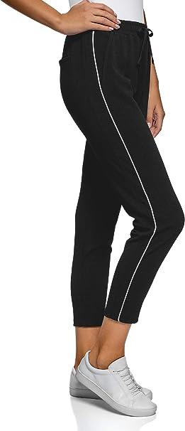 oodji Ultra Mujer Pantalones de Tejido Texturizado con Inserciones ...