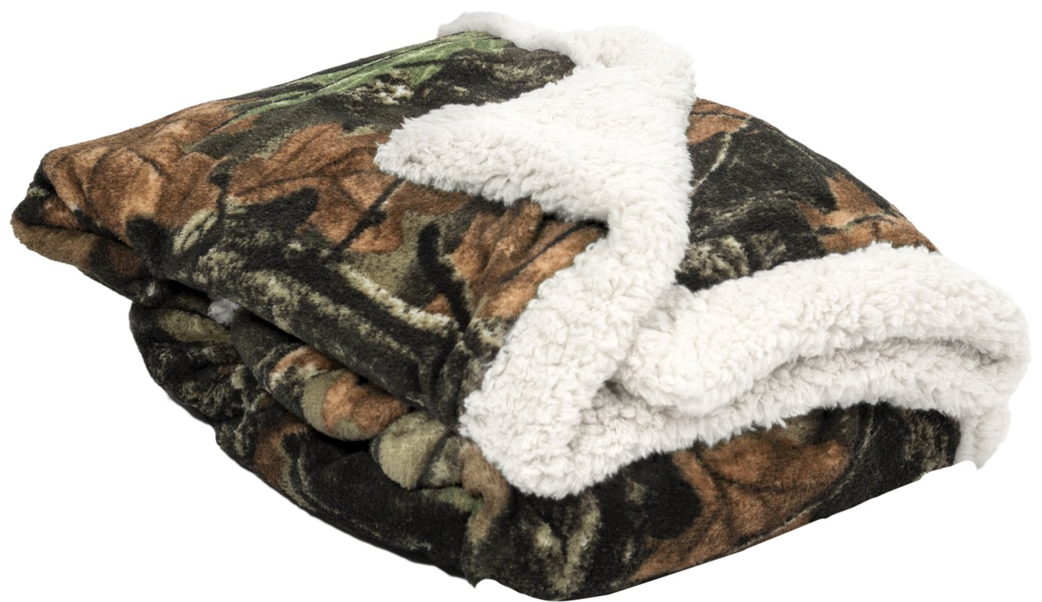 Baby Infant Camo and White Accent Soft Sherpa and Plushed Lined Coral Fleece Gift Blanket and moose Set