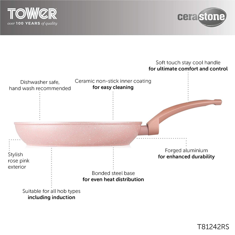 Tower T81282RS Rose Edition - Sartén de aluminio forjado (2 ...