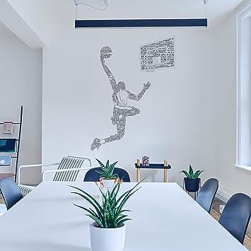OLSR® Basketteur Anglais Mots Muraux Autocollants Salle de ...