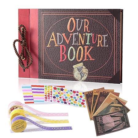 YIHAO Adventure Book Album de Fotos,Libro de Aventura con Accesoro Maravilloso, Our Adventure Scrapbooking DIY Vintage Aniversario Boda Amigos Novios ...