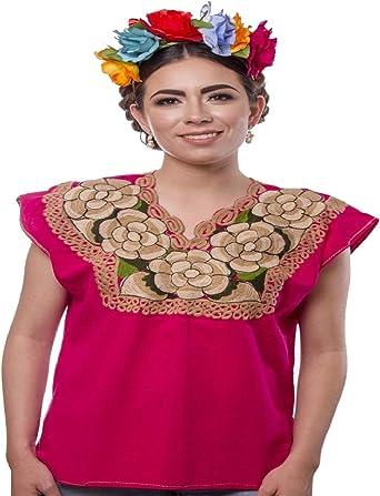Blusa Mexicana Bordada Floral Artesanos Hecho a Mano Campesino algodón Boho Auténtico Ropa de Manga Corta