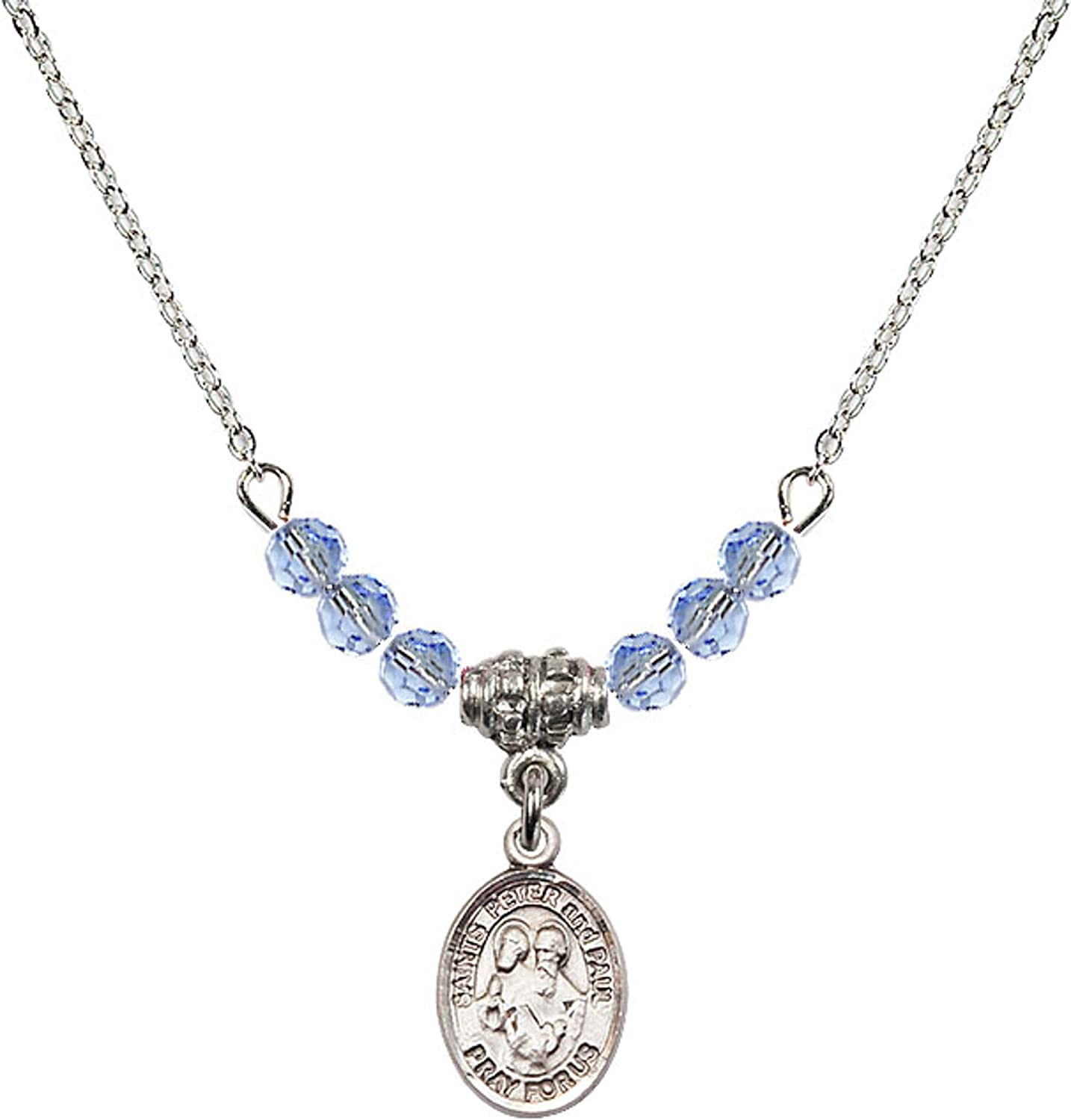 Bonyak Jewelry 18 Inch Rhodium Plated Necklace w// 4mm Light Blue September Birth Month Stone Beads and Saints Peter /& Paul Charm